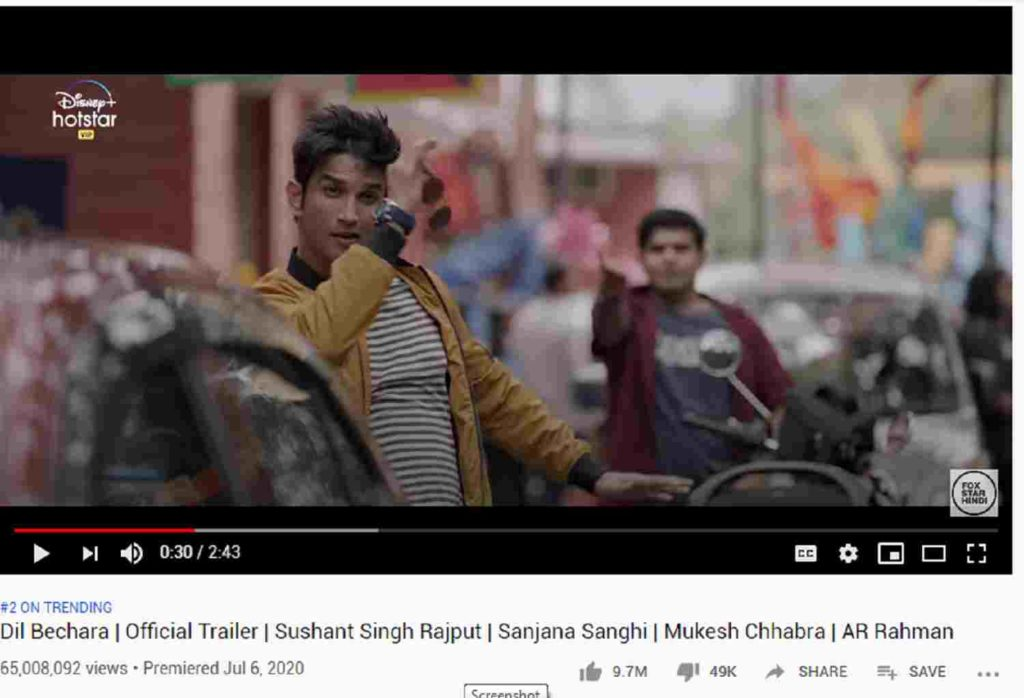 dil bechara movie trailer, sushant singh rajput movie dil bechara, dil bechara most likabe video in india